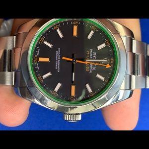 Rolex gren crystal automatic mens watch
